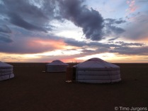 Gers in Sunset Mongolia
