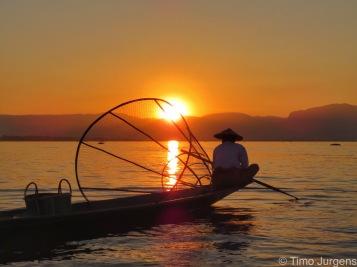 Sunset fisherman at Inle Lake